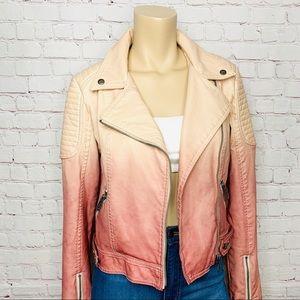 Sam Edelman Pink Dip Dyed Faux Leather Moto Jacket